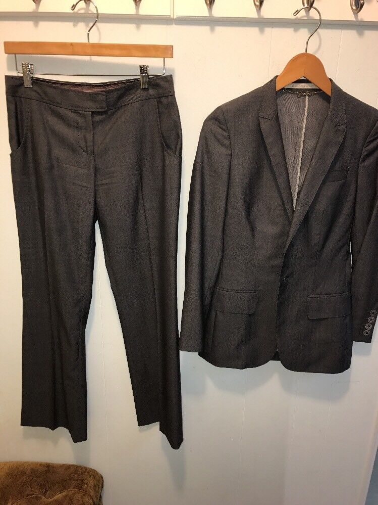 Stella McCartney Women's Grey One Button Blazer Pant Suit 38  2
