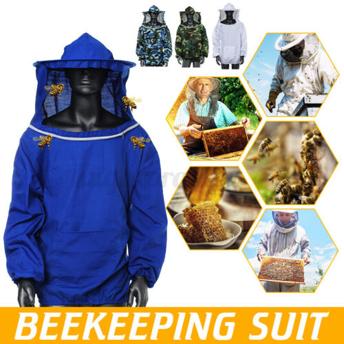 Beekeeping Jacket Veil Bee Keeping Suit Hat Pull Over Smock Protect Equip Blue