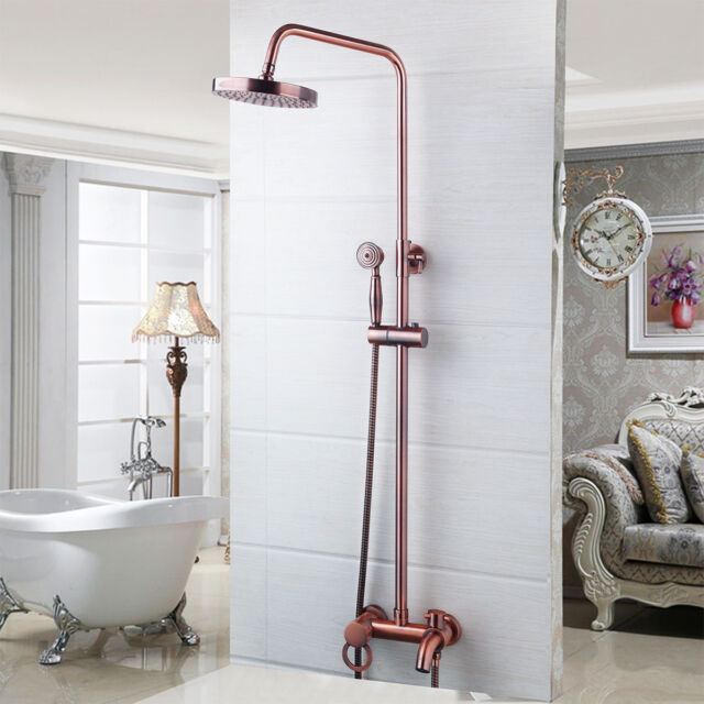 "AS Bathroom 8"" Antique Copper Rainfall Shower Head & Handheld Spray Mixer Faucet"