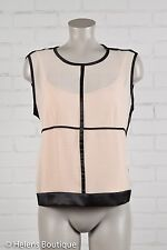 Narciso Rodriquez Design Nation woman's top size L beige black semi sheer outer