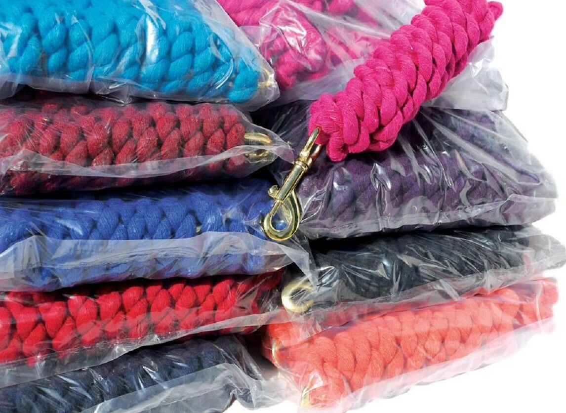 NEW Bulk Pack Of  50 Cotton Lead Ropes Trigger Clip Plain Colours Only