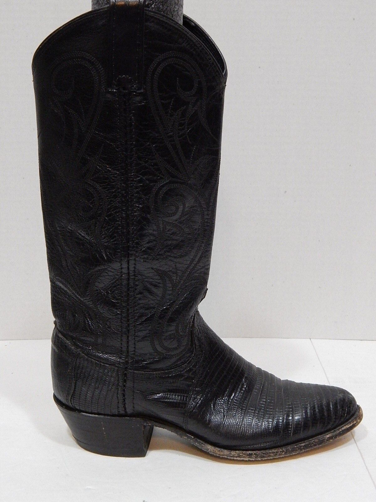 Dan Post Boots Womens Black Lizard Skin Cowboy Boots Made in USA SIZE 6M