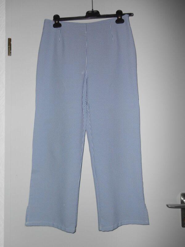 Preiswert Kaufen Blau-weiß Karierte Damen Hose, Gr. 40. 1 X Getragen, Mit Seitl. Reißverschluß