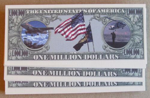 LOT OF 10 US NAVY MILLION DOLLAR BILLS US NAVY NOVELTY MONEY FREE SHIPPING