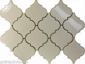 Sample Antique White Porcelain Moroccan Pattern Mosaic