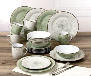 Kombiservice Geschirrset Pur 24tlg 2385670 Grun Grau Porzellan Antik Look Ebay