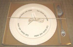 "2014 LET THEM EAT CAKE 12"" Cake Plate & Server NIB mudpie STONE MOUNTAIN, GA"