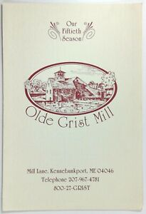 1980's Menu OLDE GRIST MILL Restaurant Mill Lane Kennebunkport Maine