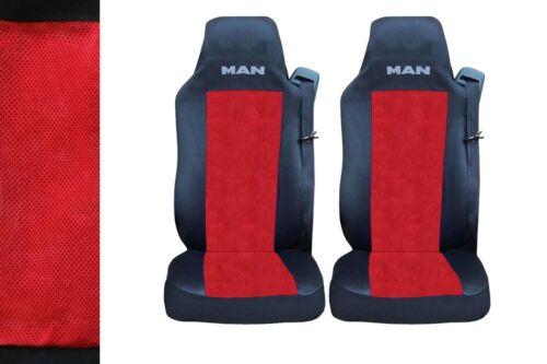 2 x Seat Covers for MAN TGA TGX TGL TGM TGS Truck HGV Lorry Black//Red LUX LHD
