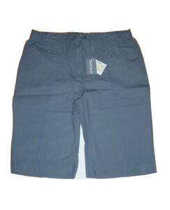 eef682b12ec495 Das Bild wird geladen Damen-Bermuda-kurze-Hose-Shorts-taubenblau-seitlicher- Gummizug-