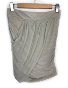 Witchery-Beige-Wrap-Skirt-Size-S-Gathered-Draped-Ruched-Net-Mesh-Casual-Womens
