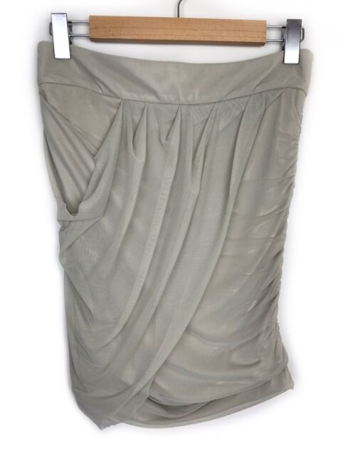 Witchery Beige Wrap Skirt Size S Net Mesh Gathered Draped Ruched Casual Womens