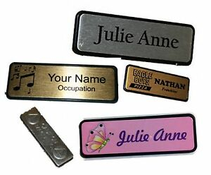 name badge name tag work badges 6 4x1 9cm magnetic backed colour