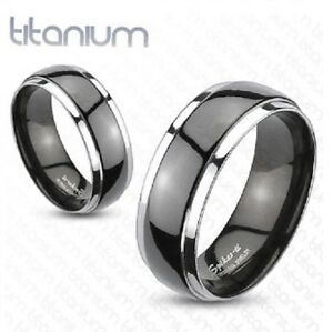 Mens-Black-Solid-Titanium-2-Tone-Dome-Band-Ring-Engagement-Wedding-UK-SELLER-N15