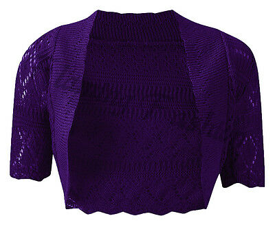 New Ladies Knitted Crochet Shrug Short Sleeve Bolero Womens Kids Cardigan Top