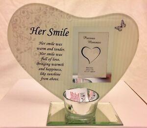 Nan White Glass Memorial Tealight Holder with Sentimental Verse