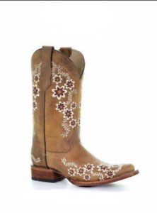 6759ab8d8ae Details about Women's Tan Floral Embroidery Square Toe Boot by Circle G  L5382