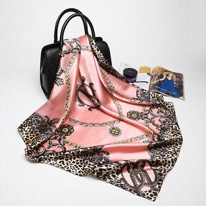 Women-039-s-Pink-Scarf-35-35-034-Leopard-Letter-Soft-Satin-Fashion-Square-Hijab-Scarves