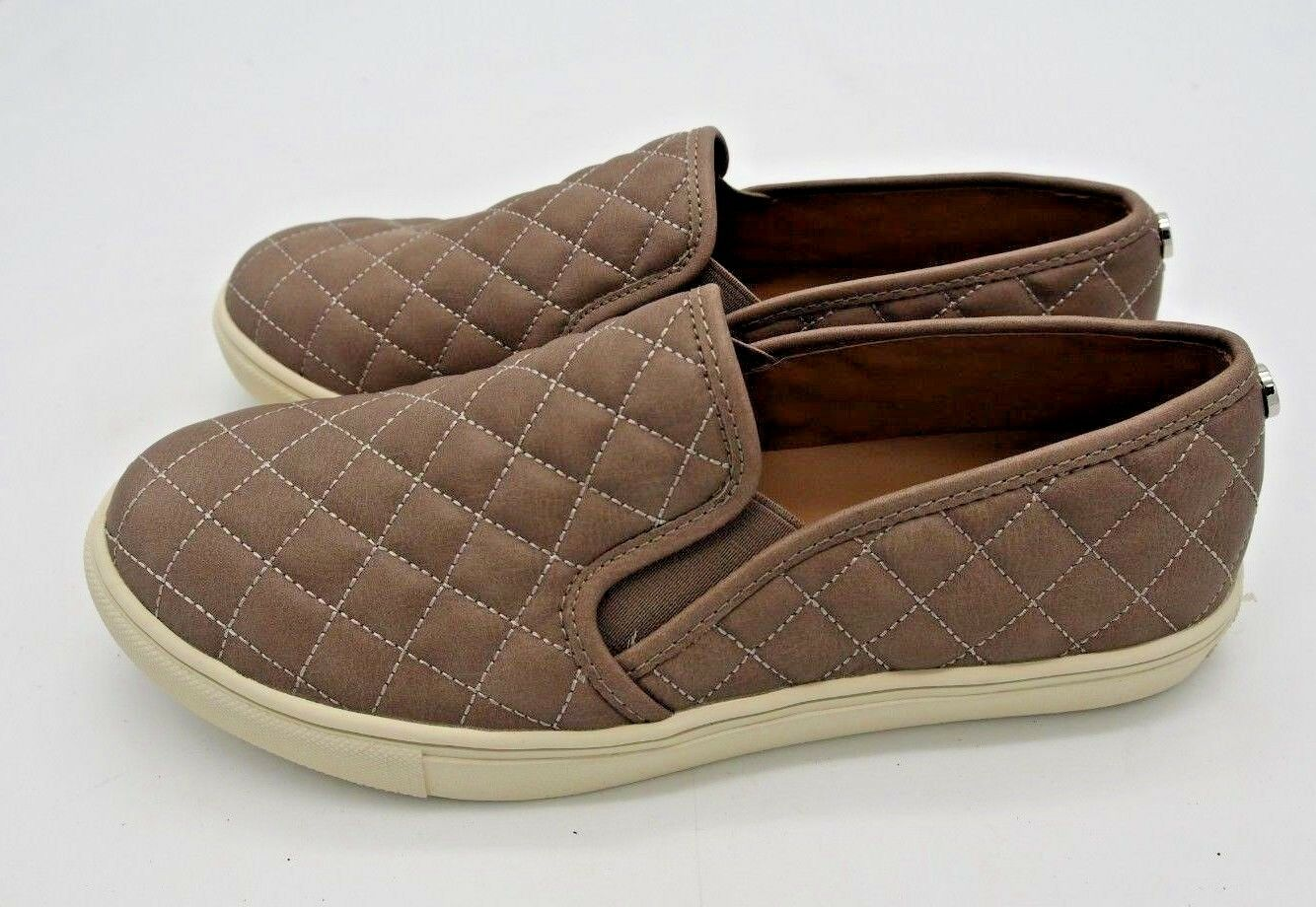 A5038 Women's Steve Madden Ecentrco Grey Faux Leather Slip On Sneakers US 9.5 M