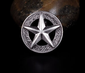 LOT-10PCS-25-25MM-WESTERN-TEXAS-RAISED-STAR-ANTIQUE-SILVER-LEATHER-CONCHOS-TACK