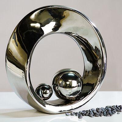 Wunderschöne Skulptur SPIN silber aus Keramik mit 2 silbernen Kugeln Höhe 21 cm
