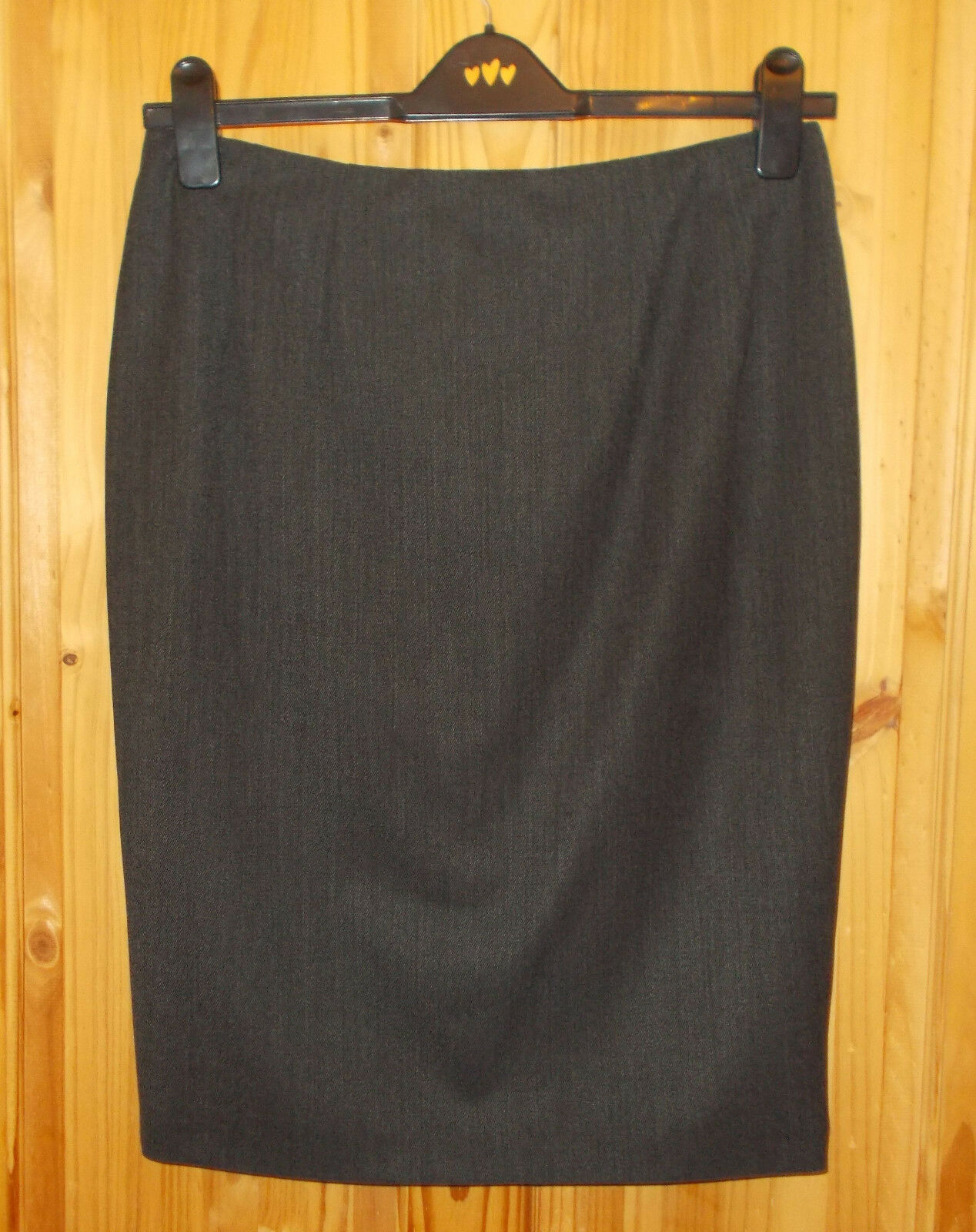 AQUASCUTUM LONDON charcoal dark grey WOOL midi knee pencil skirt BNWT 14R 42