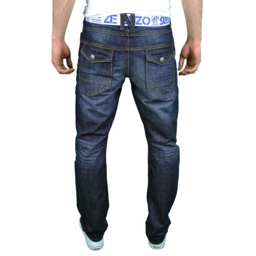 """28/"""" 48/"""" Enzo Hommes Designer Regular Coupe Droite Jeans Avec Gratuit Ceinture Bnwt"""