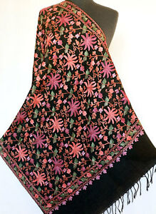06e17de829 Image is loading Crewel-Embroidered-Black-Wool-Shawl-Kashmir-Artisan- Embroidery-