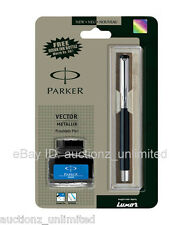 Parker Vector Mettalix Metallix CT Fountain Pen Black with Free Quink Ink Bottle