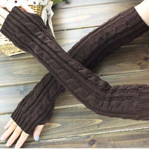 Fashion-Women-Men-039-s-Gloves-Arm-Warmer-Long-Fingerless-knit-Mitten-Winter-Unisex
