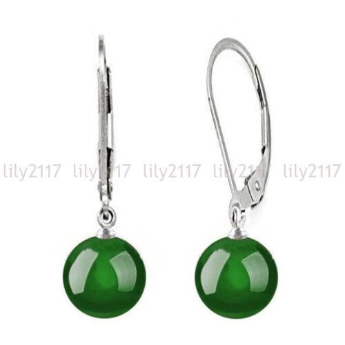 10 Mm Naturel Multi-couleur jade jade ronde Gem Silver Leverback Dangle Earrings