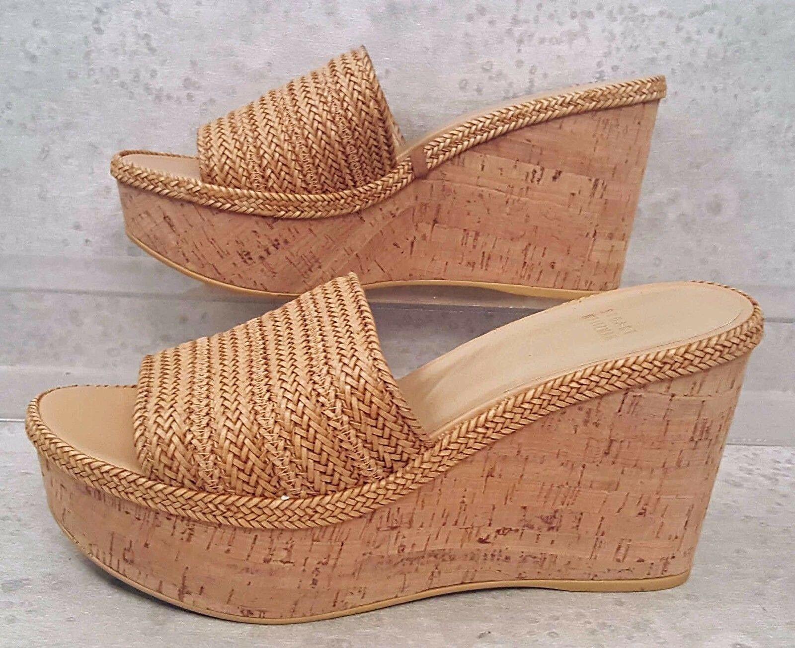 Stuart Weitzman woven wedge sandals cork wedge heel size 8.5 NEW