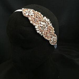 Image is loading ROSE-GOLD-Headband-Bridal-Headband-Crystal-Rhinestone- Headband- 3536e9157e7