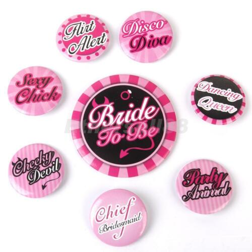 8 piece Badge Set Bride To Be Hen Night Accessories  Party Favour HEN/'S PARTY UK