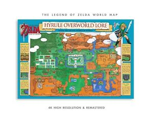 Zelda Link To The Past World Map Super Mario Bros Poster 13x19 W