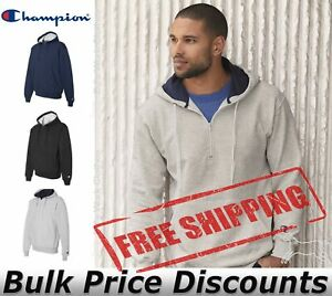 Champion-Mens-Cotton-Max-Hooded-Quarter-Zip-Sweatshirt-Pullover-S185-up-to-3XL