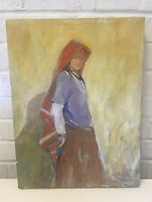 Robert H Dick Signed Painting of Southwestern Girl / Woman Taos, New Mexico