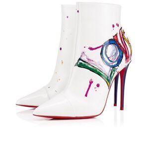 e2250e28e9c NIB Christian Louboutin Boot In Love 100 White Red Patent Heel Ankle ...