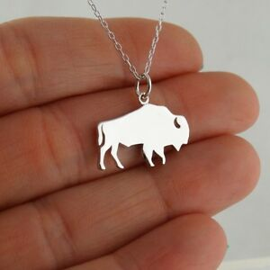 New Water Bison Buffalo Bull Pendant outline charm Sterling silver 925 Jewelry