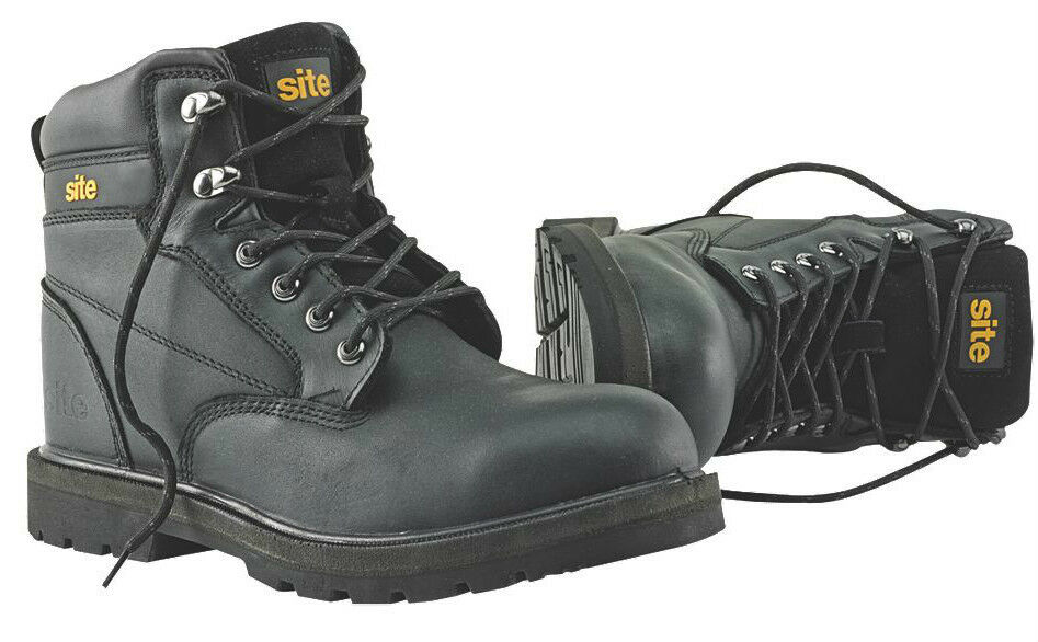 Site Rock Safety Boots Black - Padded Collar and Tongue - PURCHASE TODAY