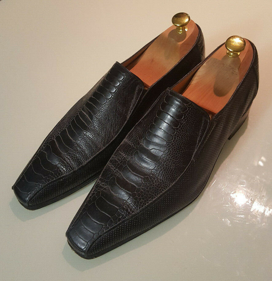Artioli - Ostrich Leg Loafers - UK9   EU 43 - Black - Hand Made in