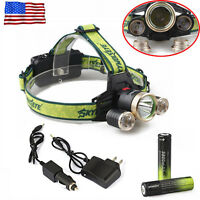 Hunting 36000lm 3x Xml-t6led Headlamp Headlight Torch 18650+ac/car Charger Usa