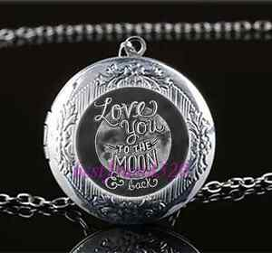I-Love-You-To-The-Moon-And-Back-Glass-Tibet-Silver-Locket-Pendant-Necklace