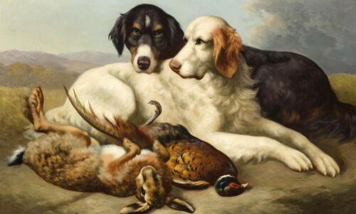 "Hunting Dogs Hounds 20/""x12/""  ART Print rabbit Pheasants William Gillard"