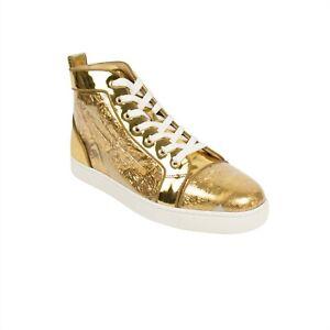 Details zu NIB CHRISTIAN LOUBOUTIN Louis Orlato Gold Ruben Hi Top Sneakers 942 $1295