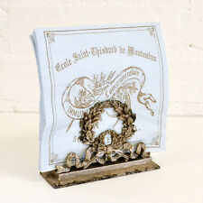 Shabby Cottage Chic French Floral Napkin Holder Vintage style Wreath Silver