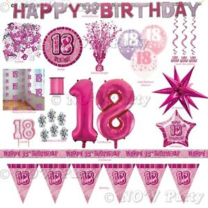 Pink Girl Milestone Special 18th Age 18 Birthday Party Supplies