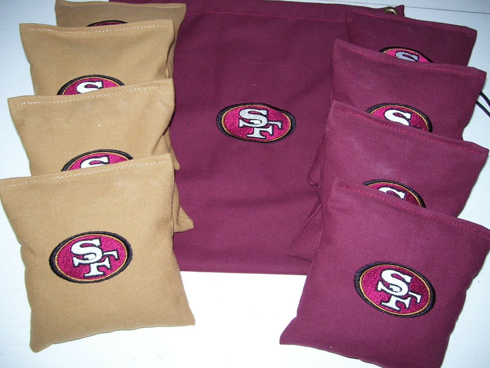 San Francisco  49ers Embroidered Cornhole corn hole set of 8 Bags W Storage Bag  outlet on sale