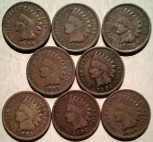 1900-1907-INDIAN-HEAD-CENTS-Run-CIRC-Collection-8-Coin-Lot-Partial-Roll