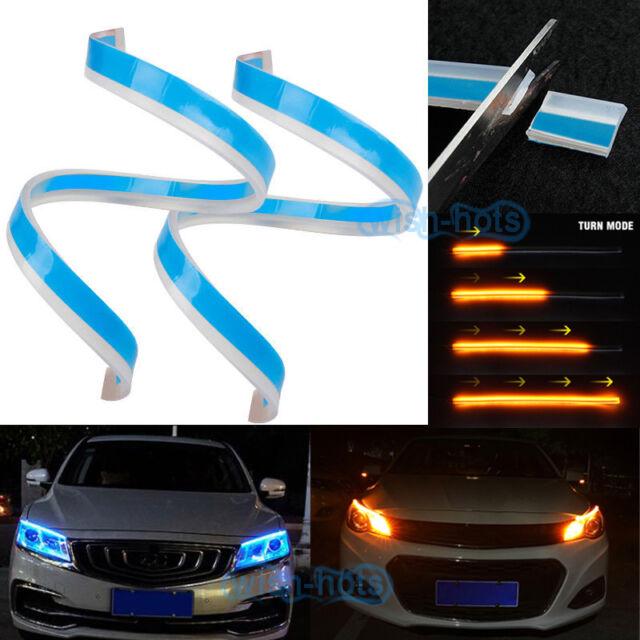 2x 60cm Dual Color Led Strip Switchback Headlight Drl